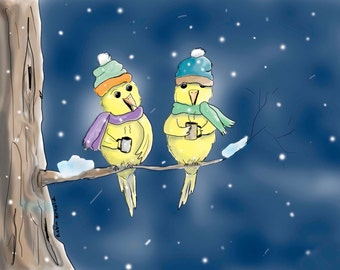 Whimsical Winter Birds Digital Art, Photoshop, yellow birds, snow, tree, drinking coffee, tree branch,snowing,made in Ohio,bird lover