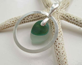 Green End Of Day Sea Glass Sterling Silver Circle Necklace