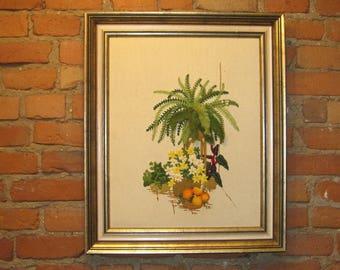 Vintage Framed Crewel Embroidery Needlework Boston Fern Flowers Wall Hanging