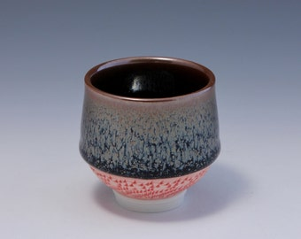 Wheel Thrown Porcelain Tea Cup with Oil Spot Glaze and Chattering Texture by HsinChuen Lin