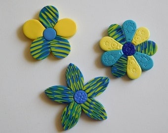 Polymer Clay Refrigerator Magnets, blue and yellow flowers , kitchen or locker decor, set of 3