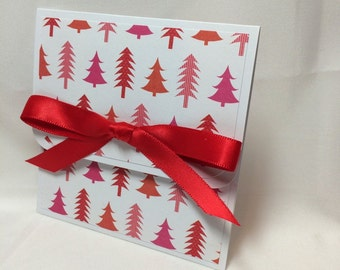 Bright & Cheery Red Christmas Trees Gift Card Holder