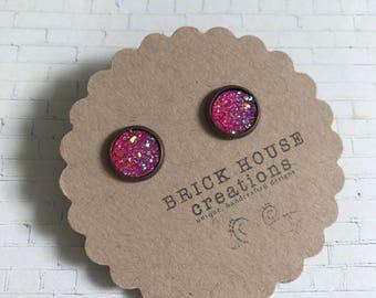 SALE deep pink sparkle druzy earrings 10mm