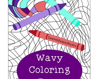 Wavy Coloring Page, Adult Coloring Page, Fun Relaxing Activity, Design Non-Objective Line Art