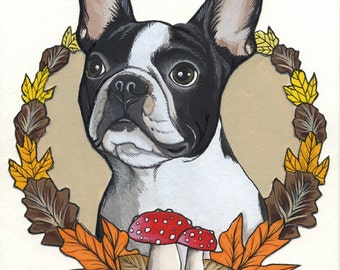 Original Boston Terrier Drawing 7 A4-size / framed