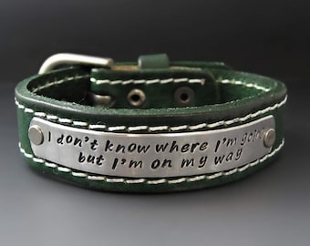 Women's  Personalized Leather Bracelet / Hand Stamped Custom Cuff / Buckle Bracelet / Gifts for Her / Graduation Gifts / Mother's Day Gifts