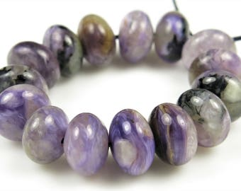 Russian Charoite Smooth Rondelle Bead - 8mm x 5mm - 15 beads - B7196