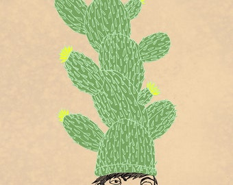 Framed giclee print of skater kid, Cactus Hat, Susan Sanford Art