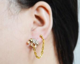 Gold Elephant Double Pierce Cartilage Earrings
