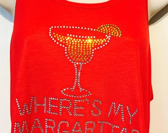 Personalized Where's My Margarita Tank/Ladies Racerback Tank/FREE Name Personalization on back