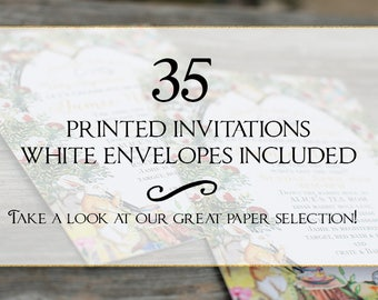 Set of 35 printed invitations/cards- White envelopes included