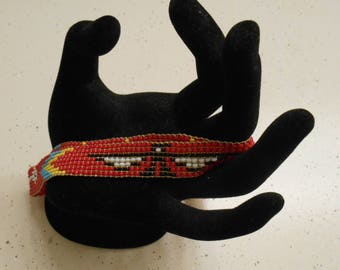 Vintage Beaded THUNDERBIRD Headband Native American 1970's