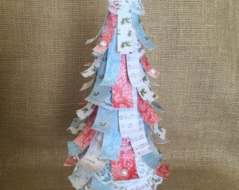 Shabby chic Christmas paper tree up cycled