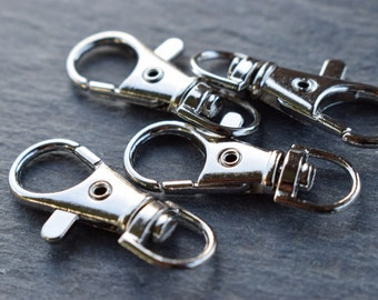 20 Silver Tone Lobster Swivel Clasps for Key Ring 3.8cm