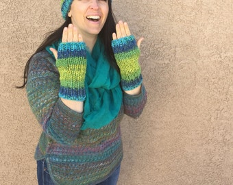 Matching Beanie and Fingerless Gloves in Green and Blue Chunky Warm Winter