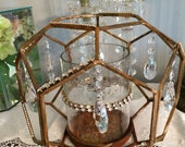 REDUCED Wedding industrial rusty and goldcandle holder with AsFour crystal prisms