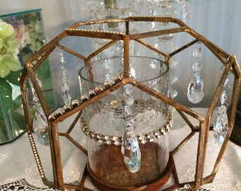Wedding industrial rusty and goldcandle holder with AsFour crystal prisms