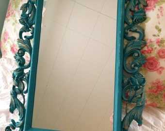 REDUCED Large Vintage mirror turquoise baroque decorative frame