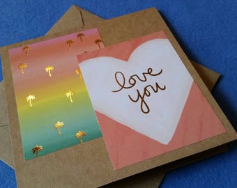 Love You, Palm Trees and Rainbow Sunset Handmade Card - Recycled Kraft Paper Square Greeting Card, Blank Card