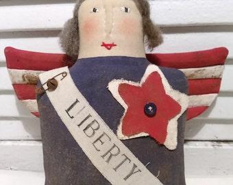 Primitive Americana Patriotic Liberty Angel Shelf Sitter/Ornie