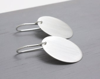 Large Silver Circle Earrings, Sterling Silver Jewellery, Round Earrings, Big Earrings : SciDlP