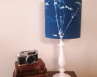 Cowparsley drum lampshade, decor lamp shade, modern lampshade, blue lamp shade, table lamp, decor lighting, cyanotype  lamp shade