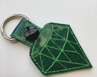 Jewel KeyChain, Snap Tab Key in Emerald