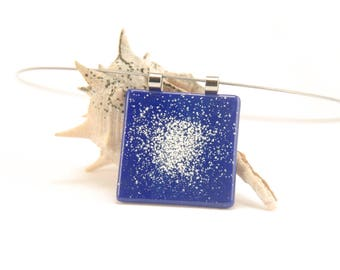 Planetary nebula glow-in-the-dark necklace, dark blue glass pendant, cosmos jewelry, science gift, deep cobalt fused glass square pendant
