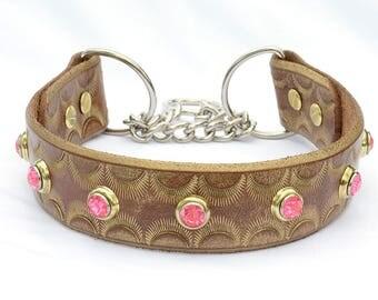 "Gold Leather Greyhound Collar, Leather Sighthound Collar, Gold Leather Martingale Collar, Dog Collar, Medium 17/18"""