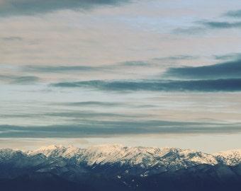 Mountain range photo, Mountain range canvas, Olympic Mountains Canvas, Mountain Print, Snow capped mountains, washington art, seattle photo
