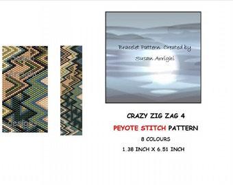 Peyote Stitch Beading Bracelet Pattern -  Crazy Zig Zag 4