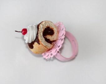 Roll Cake Ring  - Chocolate Roll Cake Ring - Chocoholic Jewelry - Swiss Roll Cake Ring -  Miniature Food Jewelry -  Food Ring - Kawaii Ring