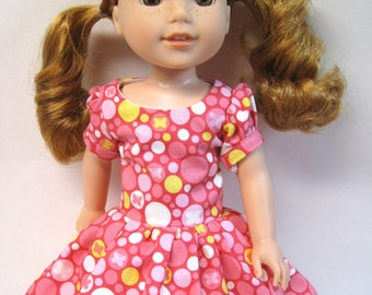 Snug as a Bug Pink Circles, Short Sleeved Dress for your 14.5 Inch Doll