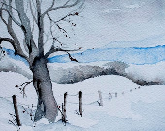 Watercolor painting of snowy fence line and blue mountains 5x7 snow scene art