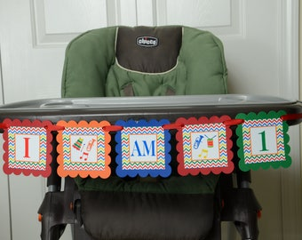 Music I am 1 Banner, Birthday Party, Music Theme, Music sign, High Chair Banner, Yellow, Red, Orange, Royal blue and Green party