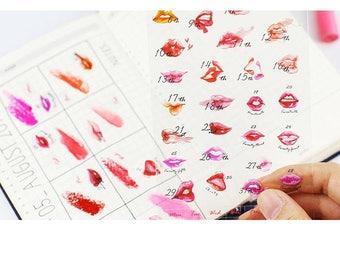 Kiss Kiss - PVC Deco Sticker - 1 Sheet