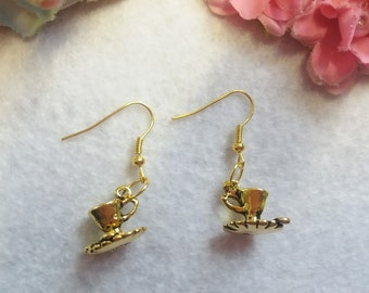 Golden Pair of Coffe Cup Earrings