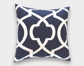 CLEARANCE 50% OFF Navy Blue and Lime Green Pillow Cover. Large Trellis Decorative Pillow. Throw Pillow Cover