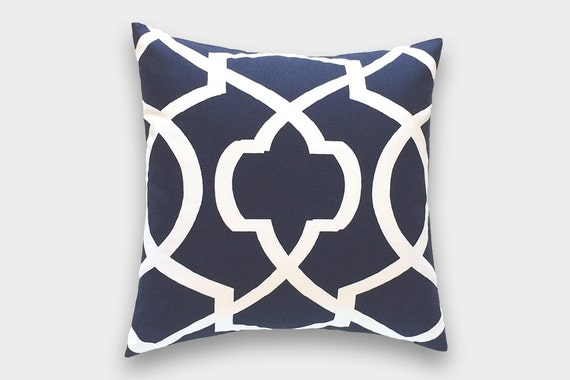 CLEARANCE 50% OFF Navy Blue And Lime Green Pillow Cover. Large