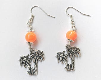 Palm Tree Dangle Earrings, Orange Palm Tree Earrings, Dangly Earrings, Palm Tree Earrings, Tropical Earrings, Summer Earrings, Gift For Her