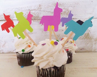18 FIESTA Cupcake Toppers ~ 1st Birthday ~ Quinceanera ~ Pinata Donkeys ~ Birthdays, Baby Shower, Bachelorette, Wedding Party