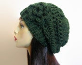 Slouchy Knit Hat with Flower Green Slouchy Beanie Forest Green Crochet Beanie  Green knit Cap Slouchy Green Beret Green slouch Tam Green Cap