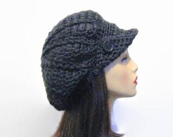 Gray Newsboy Hat Crochet Slouchy Newsboy Lightweight  Cap Adult Dark Gray knit  Hat with Visor and Button Beret Cap adult newsboy hat
