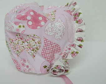 Pink Bonnet for Baby, Easter Bonnet, Pink Heart Print, Baby Clothes, Infant Accessories, Spring Baby Hat, Baby Shower Gift, OOAK Little Girl