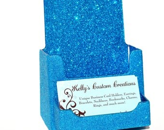 Glitter Brochure With Attached Business Card Holder. Bling Brochure Holder. Business Card Holder.  Glitter.  Sparkly.  Sparkles.