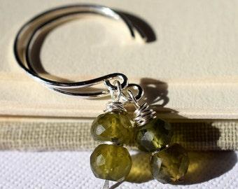 Vesuvianite Earrings, Moss Green Gemstone Earrings, Sterling Earrings, Silver Open Hoops Earrings, Stacked Gemstone Earrings, Olive Green