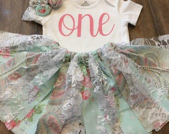 3 Piece  Floral Print  Fabric Outfit Tutu Smash First Birthday Baby  Outfit Matching Headband - Ready to Ship