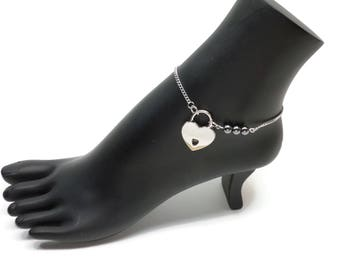 BDSM Locking Anklet, Hematite Locking Slave anklet, Black Slave Anklet, BDSM Anklet Heart Lock, BDSM Jewelry, Hematite Delicate Anklet