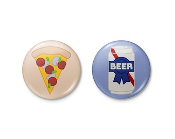Pizza & Beer Pinback or Magnet Button Set | pizza beer pabst