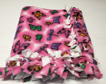 Handmade Two Layer Hand Tied Fleece Butterfly Blanket